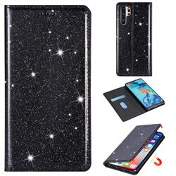 Ultra Slim Glitter Powder Magnetic Automatic Suction Leather Wallet Case for Huawei P30 Pro - Black
