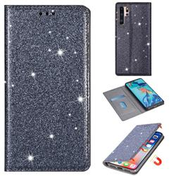 Ultra Slim Glitter Powder Magnetic Automatic Suction Leather Wallet Case for Huawei P30 Pro - Gray