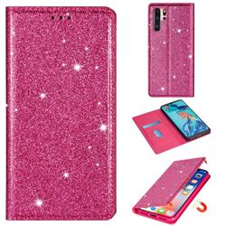 Ultra Slim Glitter Powder Magnetic Automatic Suction Leather Wallet Case for Huawei P30 Pro - Rose Red