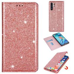 Ultra Slim Glitter Powder Magnetic Automatic Suction Leather Wallet Case for Huawei P30 Pro - Rose Gold