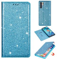 Ultra Slim Glitter Powder Magnetic Automatic Suction Leather Wallet Case for Huawei P30 Pro - Blue