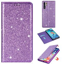 Ultra Slim Glitter Powder Magnetic Automatic Suction Leather Wallet Case for Huawei P30 Pro - Purple