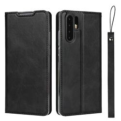 Calf Pattern Magnetic Automatic Suction Leather Wallet Case for Huawei P30 Pro - Black