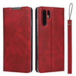 Calf Pattern Magnetic Automatic Suction Leather Wallet Case for Huawei P30 Pro - Red