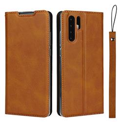 Calf Pattern Magnetic Automatic Suction Leather Wallet Case for Huawei P30 Pro - Brown