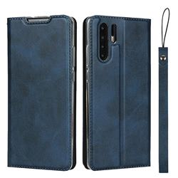 Calf Pattern Magnetic Automatic Suction Leather Wallet Case for Huawei P30 Pro - Blue