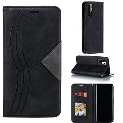 Retro S Streak Magnetic Leather Wallet Phone Case for Huawei P30 Pro - Black