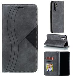 Retro S Streak Magnetic Leather Wallet Phone Case for Huawei P30 Pro - Gray