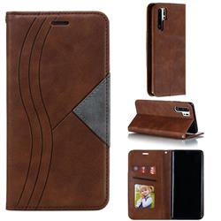 Retro S Streak Magnetic Leather Wallet Phone Case for Huawei P30 Pro - Brown