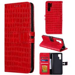 Luxury Crocodile Magnetic Leather Wallet Phone Case for Huawei P30 Pro - Red