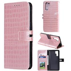 Luxury Crocodile Magnetic Leather Wallet Phone Case for Huawei P30 Pro - Rose Gold
