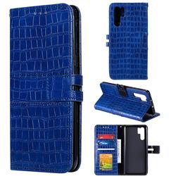 Luxury Crocodile Magnetic Leather Wallet Phone Case for Huawei P30 Pro - Blue