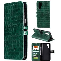 Luxury Crocodile Magnetic Leather Wallet Phone Case for Huawei P30 Pro - Green