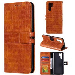 Luxury Crocodile Magnetic Leather Wallet Phone Case for Huawei P30 Pro - Brown