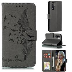 Intricate Embossing Lychee Feather Bird Leather Wallet Case for Huawei P30 Pro - Gray