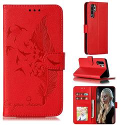 Intricate Embossing Lychee Feather Bird Leather Wallet Case for Huawei P30 Pro - Red