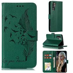 Intricate Embossing Lychee Feather Bird Leather Wallet Case for Huawei P30 Pro - Green