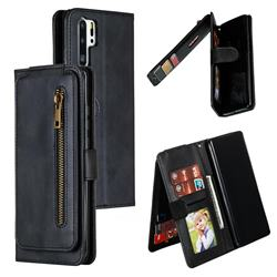 Multifunction 9 Cards Leather Zipper Wallet Phone Case for Huawei P30 Pro - Black