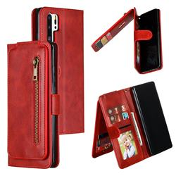 Multifunction 9 Cards Leather Zipper Wallet Phone Case for Huawei P30 Pro - Red