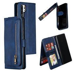 Multifunction 9 Cards Leather Zipper Wallet Phone Case for Huawei P30 Pro - Blue