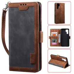 Luxury Retro Stitching Leather Wallet Phone Case for Huawei P30 Pro - Gray