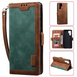 Luxury Retro Stitching Leather Wallet Phone Case for Huawei P30 Pro - Dark Green