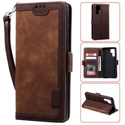 Luxury Retro Stitching Leather Wallet Phone Case for Huawei P30 Pro - Dark Brown