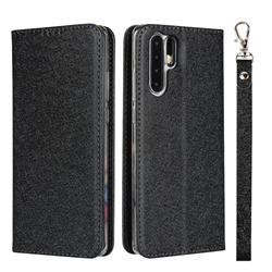 Ultra Slim Magnetic Automatic Suction Silk Lanyard Leather Flip Cover for Huawei P30 Pro - Black
