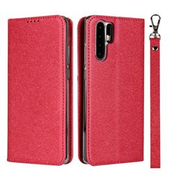 Ultra Slim Magnetic Automatic Suction Silk Lanyard Leather Flip Cover for Huawei P30 Pro - Red