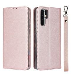Ultra Slim Magnetic Automatic Suction Silk Lanyard Leather Flip Cover for Huawei P30 Pro - Rose Gold