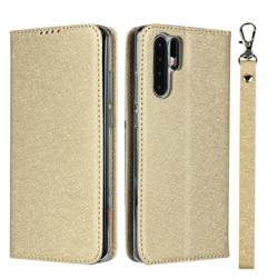 Ultra Slim Magnetic Automatic Suction Silk Lanyard Leather Flip Cover for Huawei P30 Pro - Golden