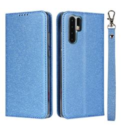 Ultra Slim Magnetic Automatic Suction Silk Lanyard Leather Flip Cover for Huawei P30 Pro - Sky Blue