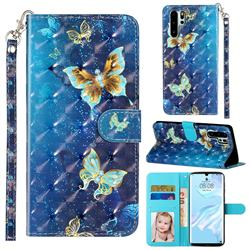 Rankine Butterfly 3D Leather Phone Holster Wallet Case for Huawei P30 Pro