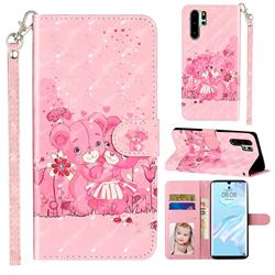 Pink Bear 3D Leather Phone Holster Wallet Case for Huawei P30 Pro