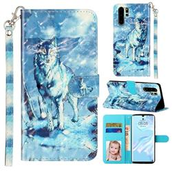 Snow Wolf 3D Leather Phone Holster Wallet Case for Huawei P30 Pro