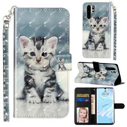Kitten Cat 3D Leather Phone Holster Wallet Case for Huawei P30 Pro