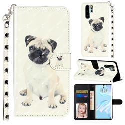 Pug Dog 3D Leather Phone Holster Wallet Case for Huawei P30 Pro