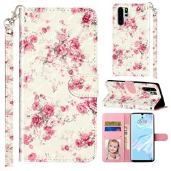 Rambler Rose Flower 3D Leather Phone Holster Wallet Case for Huawei P30 Pro