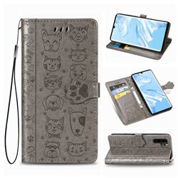 Embossing Dog Paw Kitten and Puppy Leather Wallet Case for Huawei P30 Pro - Gray