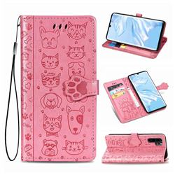 Embossing Dog Paw Kitten and Puppy Leather Wallet Case for Huawei P30 Pro - Pink
