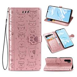 Embossing Dog Paw Kitten and Puppy Leather Wallet Case for Huawei P30 Pro - Rose Gold