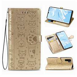 Embossing Dog Paw Kitten and Puppy Leather Wallet Case for Huawei P30 Pro - Champagne Gold