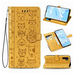 Embossing Dog Paw Kitten and Puppy Leather Wallet Case for Huawei P30 Pro - Yellow