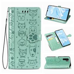 Embossing Dog Paw Kitten and Puppy Leather Wallet Case for Huawei P30 Pro - Green