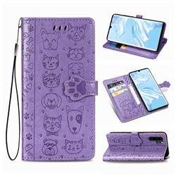 Embossing Dog Paw Kitten and Puppy Leather Wallet Case for Huawei P30 Pro - Purple