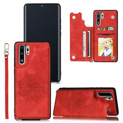 Luxury Mandala Multi-function Magnetic Card Slots Stand Leather Back Cover for Huawei P30 Pro - Red