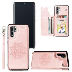 Luxury Mandala Multi-function Magnetic Card Slots Stand Leather Back Cover for Huawei P30 Pro - Rose Gold