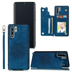 Luxury Mandala Multi-function Magnetic Card Slots Stand Leather Back Cover for Huawei P30 Pro - Blue