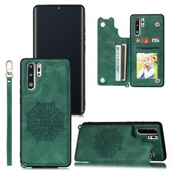 Luxury Mandala Multi-function Magnetic Card Slots Stand Leather Back Cover for Huawei P30 Pro - Green