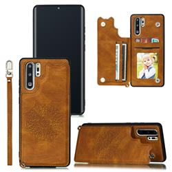 Luxury Mandala Multi-function Magnetic Card Slots Stand Leather Back Cover for Huawei P30 Pro - Brown